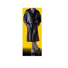 Mens Real Black Leather Full Length Double Breast Trench Coat (T2)