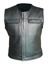 Mens Real Black Leather Waistcoat Bikers Vest With Flap Pockets BLUF (B3)