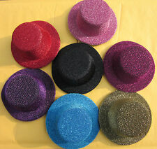 Gitter MINI TOP HATS Craft Making Party Fascinator Alligator Clips Millinery DIY