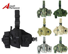 Tactical Military Hunting Molle Pistol Gun Drop Leg Thigh Holster w/ Radio Pouch