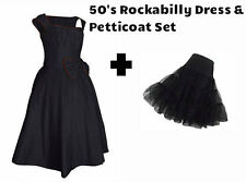 VINTAGE 1950's ROCKABILLY DRESS & PETTICOAT BLACK RED SWING BOW EVENING  PROM