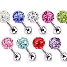 Sparkling Crystal Ferido Ball TONGUE RINGS Steel BARBELLS Body Piercing Jewelry