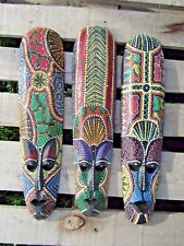 Fair Trade Hand Made Carved Wooden Dot Painted Ethnic Tribal Tiki Wall Art Mask