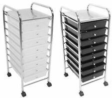 8 Drawers White & Black Plastic Beauty Salon Hairdresser Office Kitchen Trolley