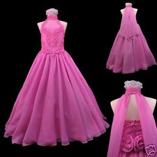 New Girl Pageant Wedding Bridesmaid Formal Prom Dress 7 8 10 12 14 Teens Fuchsia