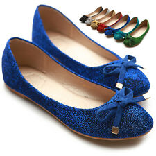 ollio Womens Ballet Flats Loafers Ribbon Glitter Fablic Multi Colored Shoes