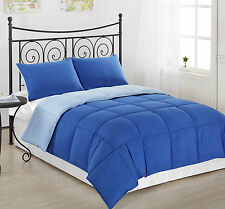 3pc Royal/Light Blue Reversible Down Alternative Comforter Twin Full/Queen King