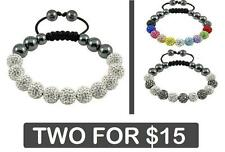 2 FOR $15!! Crystal Balls SATURN SHAMBALLA BRACELET - White, Silver, Grey, Gold