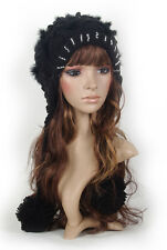 Indian Style Double Flowers Pom Rhinestone Womens Ski Snow Knit Hat Ear Warmer