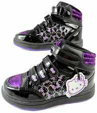 NEW GIRLS HELLO KITTY BLACK PURPLE HI TOP CASUAL TRAINERS VELCRO BOOTS  8-2 UK