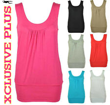 NEW LADIES PLAIN STRETCH LONG VEST CASUAL ROUND NECK GATHERED SEXY VEST TOP 8-14