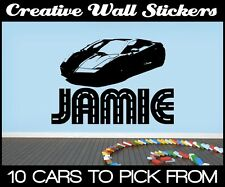 PERSONALISED NAME AND SPORTS CAR BOYS WALL STICKERS LAMBORGHINI BEDROOM STICKER