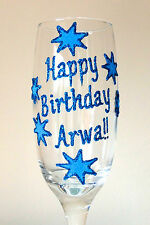 Personalised 18th Birthday Gifts Stars Design Champagne Wine Glass Your Message
