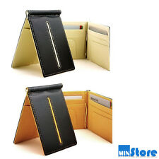 NEW Faux Simple Slim Leather Money Clip Wallet Credit ID Card Holder Case