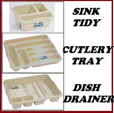 CALICO CREAM PLASTIC DISH DRAINER SINK TIDY CUTLERY TRAY HOLDER ORGANIZER RACK