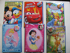 Disney Badge Cards Happy Birthday Button Various Gift Wishes Kids Boys Girls BN