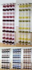STIRLING EYELET TOP / RING TOP VOILE CURTAIN PANEL STRIPE USE ON CURTAIN POLES