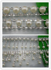 Diy fashion one yard costume applique pearl rhinestones silver claw trim chain