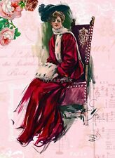 Harrison Fisher Lady in Chic velvet Shabby background Quilting Fabric Block