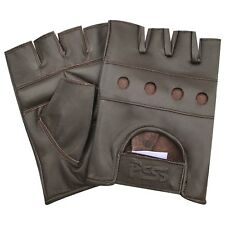 NEW SOFT LEATHER FINGERLESS MENS WEIGHT TRAINING GLOVES BROWN CYCLING WHEELCHAIR