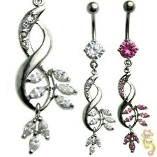 Fancy Clear Pink Belly Ring CZ Navel Dangle Body Jewelry Hot Sex Beautiful Steel