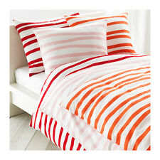 IKEA Full Queen Duvet Quilt Cover Pillowcases Springkorn Pink/White Red/White