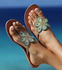 Aspiga BARI Sandal in Turquoise GREEN Flip Flops Leather Hand Made in India $125