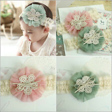 NWT Baby Infant Girl Tulle Flower Corsage Headband Easter Lace Hair Band Ribbon