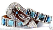 08. Atlas Cowgirl Western Brown Icy Blue Prism Cut Concho Leather Belt