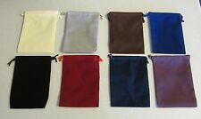"""5 JEWELRY POUCHES 4"""" BY 5.5""""  VELOUR GIFT FAVOR COIN BAGS WITH DRAWSTRINGS"""