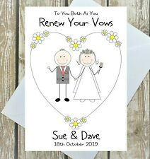 RENEW WEDDING VOWS PERSONALISED CARD CONGRATULATIONS ANY NAMES DATE