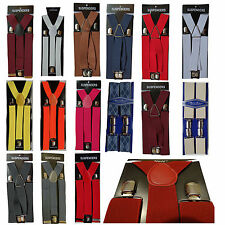 Mens 35mm Wide Adjustable Braces Suspenders Elastic in Plain Colours