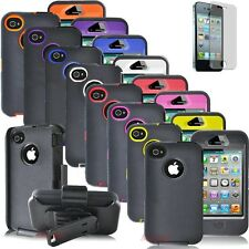 BLACK 3PIECE HARD CASE COVER KICKSTAND HOLSTER BELT CLIP FOR IPHONE 4 4S 4G