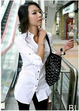 new WHITE nice quality office lady girl slim dress shirt buttons top blouse
