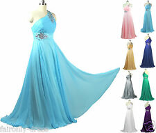 FairOnly  Chiffon Crystals One Shoulder Evening Bridemaids Dress  Formal Gown