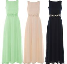 LADIES PLUS SIZE WAISTED CROCHET SEQUIN EMBELLISHED LONG MAXI PROM DRESS 16-26