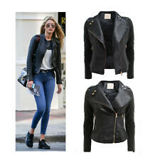 NEW LADIES BIKER JACKET CROP PVC FAUX LEATHER PU GOLD ZIP STUD COAT SIZE 8-14