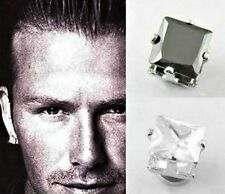 """STAINLESS STEEL BLACK & CLEAR SQUARE 8mm """"MAGNETIC"""" CZ STUD EARRINGS –Gift Pouch"""