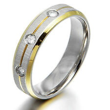 Men Women 18K Gold Filled CZ Wedding Titanium Rings Sz4-16 MKUS001A