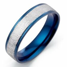 US Unique Men Women Blue Wedding Titanium Rings Sz4-16 GM065
