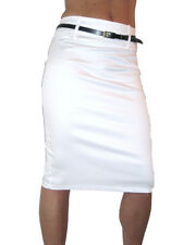 NEW (2347) pencil skirt stretch sateen + FREE belt white size 8-18