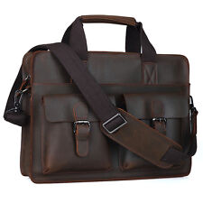 Brown Genuine Leather Mens Laptop Business Briefcase Messenger Shoulder Bag Case