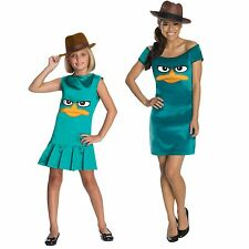 Teen Child TV Show Phineas and Ferb Sassy Agent P Platypus Tunic Dress Costume