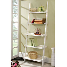 Marcel Mission Style Wood Finish 5-Tier Ladder Bookcase Shelf