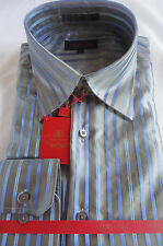 Mens Leonardi Glossy Silver Gray & Blue Stripe High Collar Dress Shirt # 020