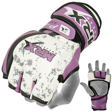 MMA Grappling Gloves UFC Cage Boxing Fight Punch Glove Rex Leather MRX Purple