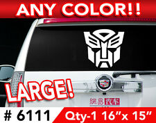 "TRANSFORMERS AUTOBOT LARGE DECAL STICKER 16""w x15""h  Any 1 Color"