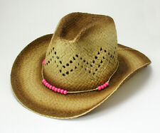 Straw Cowgirl Hat Western Cowboy Cool Palm Sun Cap Beaded Band Rodeo Unisex Hats