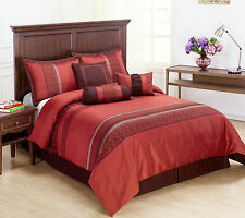 Indiologie 7pc Comforter Set Red, Burgundy Stripe Bed-in-a-bag Full Size Bedding