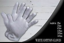1, 2, 6, 12, 24, 36 Pair Cotton White Gloves Moisturising Lining Gloves S M L Xl